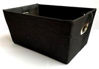 "Rectangular black fabric basket with matching black fabric liner 11""x8""x5""H"