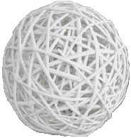 "White decorative willow ball 4""D"
