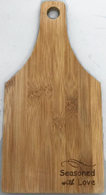 "Bamboo cutting board with ""Seasoned with Love"" engraved 5.5""x0.4""x11"""