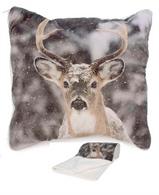 """Deer in the snow cushion throw 17""""x17"""" Cushion can be unzipped into a fur throw"""