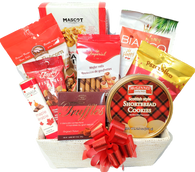 "Gift basket kit CBW545SGLW-KIT (9 food items a fabric basket, cellophane bag, shredded paper and a 5"" metallic red pull bow.) - ASSEMBLY REQUIRED!  Do it yourself Gift Basket!"