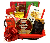 "Gourmet gift basket kit, includes 9 food items, willow basket with fabric liner plus Shredded paper, Pull Bow, and Cellophane bag.  You get all you need to make this Beautiful, Delicious gift basket.  CBY624T Rectangular willow basket with handles and red fabric liner 12""x9""x4""H  TG156DGB  Too Good Gourmet  dark chocolate bottomed gingerbread cookies 156 gr.  MAS142PB   Mascot light & crispy peanut brittle 142 gr.,  HTR75D    Trianon chcolate sticks 75 gr.,  IMP160CH    Imperial wafer rolls with cocoa cream 160 gr.,   MCD35MK    McSteven's Delicieux Milk Chocolate Cocoa - Red 35 gr.  AP100CH   Pszczolka Candies - Chocolate coated sweets filled with Strawberry & sweet currant filling (individually wrapped) 100 gr.,  MCG101    McGinnis Scottish style shortbread cookies in a tin 101 gr.,   GDV57ALM    Godiva Milk Chocolate Covered Whole Almonds 57 gr.  CCH34R    Chocolat Classic Belgian chocolate truffles red hexagonal box 34 gr.,  PB4MRD    4'' Pull Bows METALIC Red  BAG2030   Cello bags 20""x30"" 25 micron (1 mil)  SH01XM   Spring-fill Crinkle cut bag - CHRISTMAS BLEND"