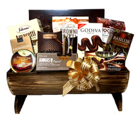 CBX680TL-KIT Gourmet gift basket, includes 12 Items plus Wood half barrel style container, Shredded paper, Pull Bow and Cellophane bag.  You get all you need to make this Beautiful, Delicious gift basket.