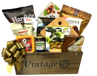 CBX647T-KIT Apex Elegance Christmas Gourmet cheese gift basket kit includes 13 Items, wooden vintage box, shredded paper, cello bag and pull bow.  Do it yourself Gift Basket!