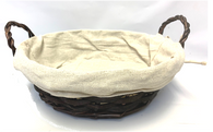 "Round willow & chipwood basket with handles and beige canvas liner  10""D""x3""H"