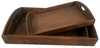 """Smallest in S/3 Brown wood trays  S: 11""""x9""""x2""""H"""