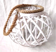 "Round white lantern with glass insert and jute handle 10""H"
