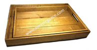 "S/2 Wood trays with handles S: 16""x10""x1.75""H, L: 18""x12""x2""H"