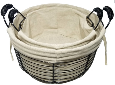 """S/2 Round wire basket with handles and canvas liner S:10""""Dx5.6""""Hx7.6""""OH, L: 12""""Dx6.4""""X8.4""""OH"""