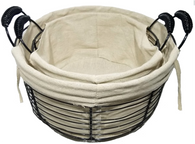 "S/2 Round wire basket with handles and canvas liner S:10""Dx5.6""Hx7.6""OH, L: 13""Dx6.4""X8.4""OH"