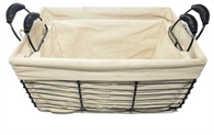 "S/2 Round wire basket with handles and canvas liner S:10""Dx5.6""Hx7.6""OH, L: 12""Dx6.4""X8.4""OH"