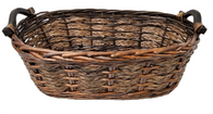 "Smallest in Set of 3 Willow & Seagrass baskets with wooden handles S: 16.25""x8.5""x5.5""H"