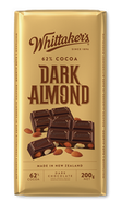 Whittaker's Dark Almond chocolate block 200 gr., 14/cs