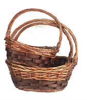 "Set of 3 Boat shaped willow & chipwood baskets L: 17""x13""x6""Hx16""OH, M: 14""x10""x5""Hx14""OH, S: 12.75""x8.5""x4""Hx12""OH"