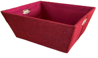 "Rectangular Burgundy/red fabric basket with matching fabric liner  11""x8""x5""H"