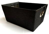 "Rectangular Black fabric basket with matching fabric liner 13""x10""x6""H"