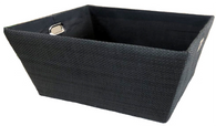 "Large Rectangular Black basket with matching fabric liner 16""x13""x8""H"