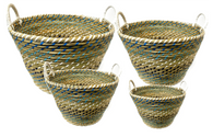 "Set of 4 Round blue-tones seagrass & straw baskets with handles XL: 20""Dx14""H, L: 17""Dx12""H, M: 15""Dx10""H, S: 12""Dx10""x9""H"