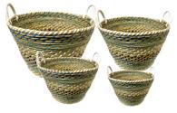 "Set of 4 Round blue-tones seagrass & straw baskets with handles XL: 20""Dx14""H, L: 17""Dx12""H, M: 15""Dx10""H, S: 12""Dx10""x9""H"