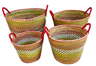 "Set of 4 Round Red-tones seagrass & straw baskets with handles  XL:20""Dx14""H,  L:17""Dx12""H,  M:15""Dx10""H,  S:12""Dx10""x9""H"