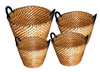 "Medium in S/4 Round Black & Natural tones seagrass & straw baskets with handles M: 15""Dx10""H"