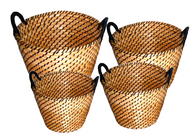 """Medium in S/4 Round Black & Natural tones seagrass & straw baskets with handles M: 15""""Dx10""""H"""