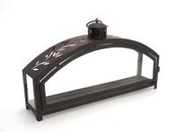 "Black iron and glass ARCH lantern 16""X3.75""X9""H"