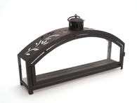 "Black iron and glass ARCH lantern 16""X3.75""X9""H"