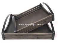 "S/2 Wood crate-style trays with black metal handles L:16""x12""x4""H S:13""x10""x3.8""H"