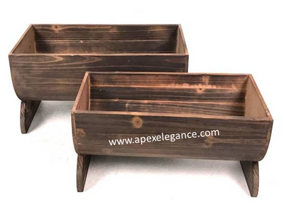 "S/2 Wood half barrel style containers L:18""x8""x8""H S:16""x7""x7""H"