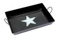 "Galvanized rectangular black tray with handles  &  white star print 17""x13""x2.5""H"