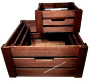 "S/4 Brown Square crates XL: 16""x16""x8""H"