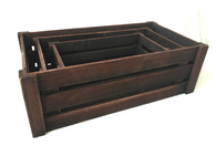"Largest in S/3 Brown crates L:24""x13""x8""H"