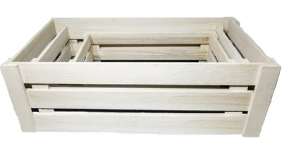 "S/3 White crates S:16""x9""x6""H, M:20""x11""x7""H, L:24""x13""x8""H"