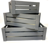 "Smallest in S/3 Grey crates S:16""x9""x6""H"