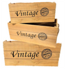 """Set of 3 Wood VINTAGE containers with rope handles XL: 20""""x12""""x9""""H,  L: 18""""x10""""x8""""H, S: 16""""x8""""x7""""H"""