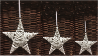 "S/3 White willow hanging stars with satin ribbon 6"", 8"" and 10""D"