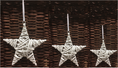 """S/3 White willow hanging stars with satin ribbon 6"""", 8"""" and 10""""D"""
