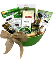"""Apex Elegance Christmas Gourmet gift basket kit includes 13 Items, Bamboo salad bowl, shredded paper, cello bag and 2 yards of ribbon to make a bow.  *Please let us know if you prefer a pull bow instead.  Do it yourself Gift Basket!  VB825VGL-KIT Included:  VB825VGLLarge Oval bamboo bowl w/handles - Green SIG454TRSSimply Indulgent Gourmet Turtle Supreme Cookies  454 gr., SJ114HSonoma Jacks Gourmet Garlic & Herb Processed Cheese 113 gr. CCB311KNSpreader/Knife MNTV190PMantova Pesto Genovese 190 gr TDF90PSTruffettes de France PISTACHIOS Nougat 90 gr.,  CHR95WHCherrington Classic Water Crackers - White 95 gr.,  OLV240LDLa Donna Pimento Stuffed Olives 240 gr.,  LAM57DALamontagne DARK chocolate covered almonds 57 gr. BB64GHBe-Bop Biscotti - Grasshopper Mint 64 gr.,  MAR225WRLMartelli Hazelnut cream wafer rolls 225 gr.,  PPT270GPPretzel Pete Seasoned Nuggets - Garlic Parmesan 270 gr. PNT500FSPantanella Fusilli Tricolore 500 gr., SF200GPRSnack Factory Pretzel Crisps - Garlic Parmesan 200 gr., WRB01NTNatural 2.5"""" wide wired burlap ribbon 2 yards each bow Accessoriesappropriate size cellophane bag, crinkle shred and 2 yards of ribbon for bow"""