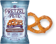 Pretzel Pete Mini Twists - Salted Caramel 100 gr., 15/cs