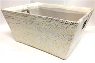 "Rectangular Off White with glitter basket with matching fabric liner 11""x8""x5""H"