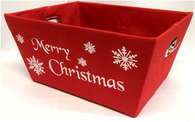 "Rectangular Red Merry Christmas basket with matching fabric liner 13""x10""x6""H"