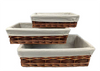 """Set of 3 willow and chipwood baskets with fabric liner L: 17""""x11""""x4.2""""H, M: 14.3""""x9.2""""x3.6""""H. S: 12""""x8""""x3""""H"""