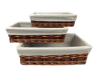 "Set of 3 willow and chipwood baskets with fabric liner L: 17""x11""x4.2""H, M: 14.3""x9.2""x3.6""H. S: 12""x8""x3""H"