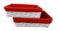 """Set of 2 white willow and chipwood baskets with red fabric liner L: 14""""x9.2""""x4""""H, S: 12""""x8""""x3.5""""H"""