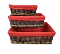 """Set of 3 willow baskets with red fabric liner L: 17""""x11""""x5.2""""H, M: 14.4""""x9.2""""x4.4""""H. S: 12""""x8""""x4""""H"""