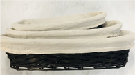 """Medium in Set of 3 Oval willow and chipwood baskets with fabric liner 14.8""""x7.25""""x3""""H"""