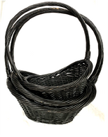 "Set of 3 Willow basket with a rolled rim and high handle  L: 17.2""x12.8""x8""Hx20""OH, M: 15.2""x11""x7.2""Hx18""OH, S: 13.2""x8.8""x6.4""x16""OH"