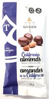 Queen T California Almonds in milk chocolate  70 gr.,  gr., 24/cs
