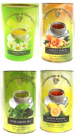 Cambridge & Thames Assorted 20 bag herbal & specialty teas in oval canisters 24/cs  6 of each Chamomile, Ginger Peach flavoured black tea, Pure Green Tea, and Honey Lemon flavoured black tea